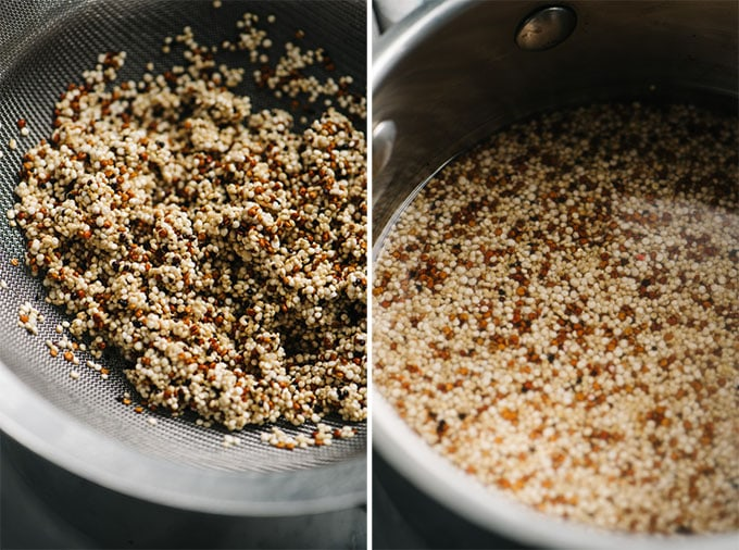 A sieve of rinsed quinoa, and quinoa in a small sauce pot covered with water.