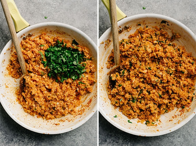 Mexican cauliflower rice in a skillet with cilantro before and after being mixed in.