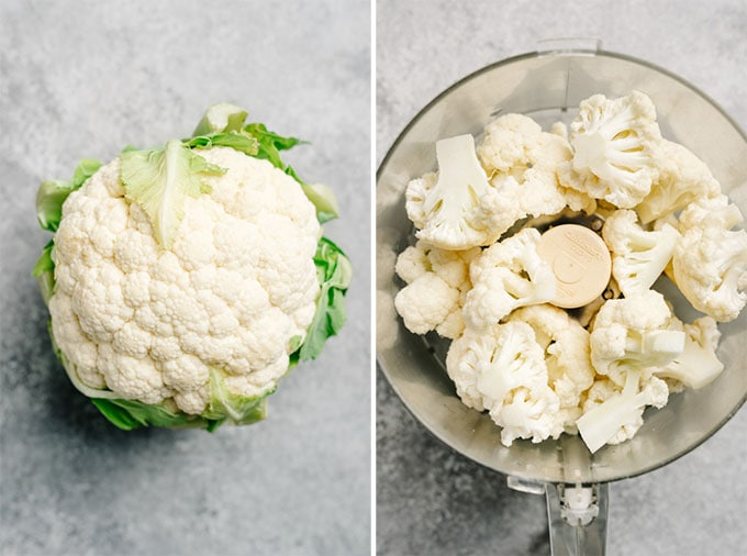 A large head of cauliflower, and cauliflower florets in a food processor.