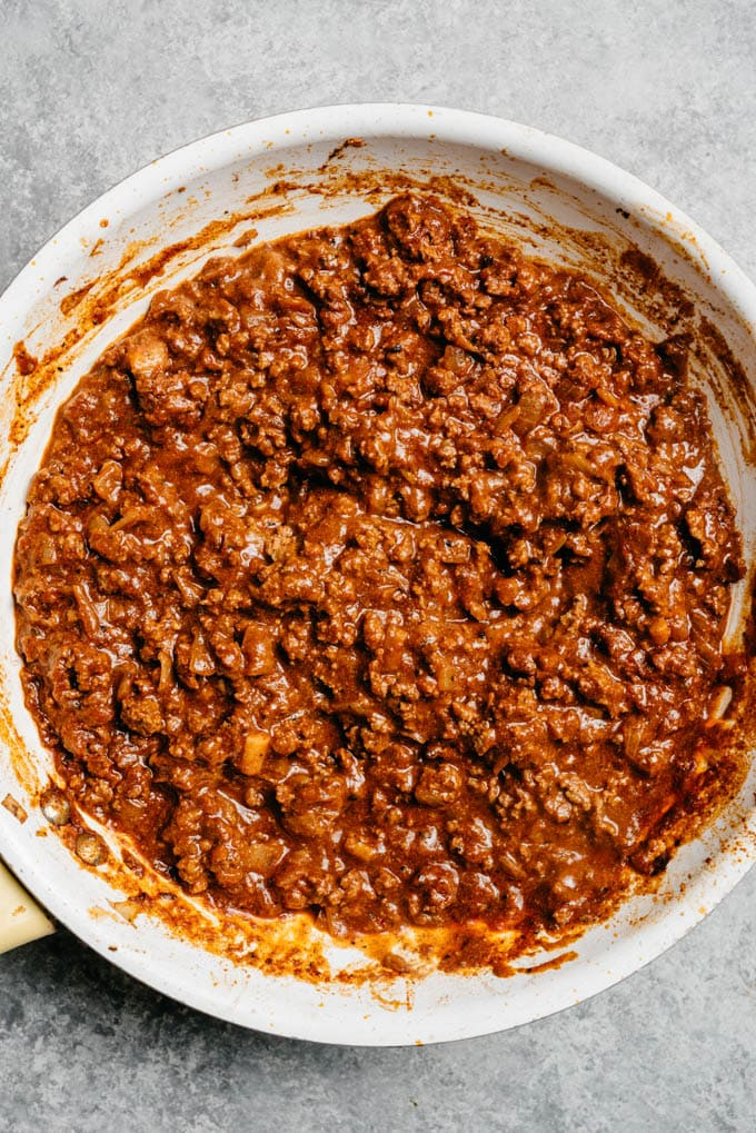Homemade ground beef taco meat in a skillet.