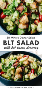 Two views of a BLT Salad in a blue bowl with text overlay for Pinterest Pins.
