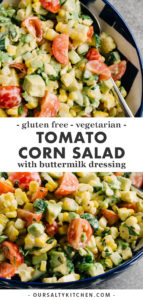 Two images of tomato corn salad with a text bar in the center for Pinterest.