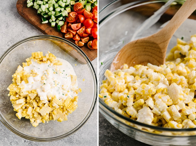 Grilled corn kernels in a glass mixing bowl before and after tossing with buttermilk dressing.
