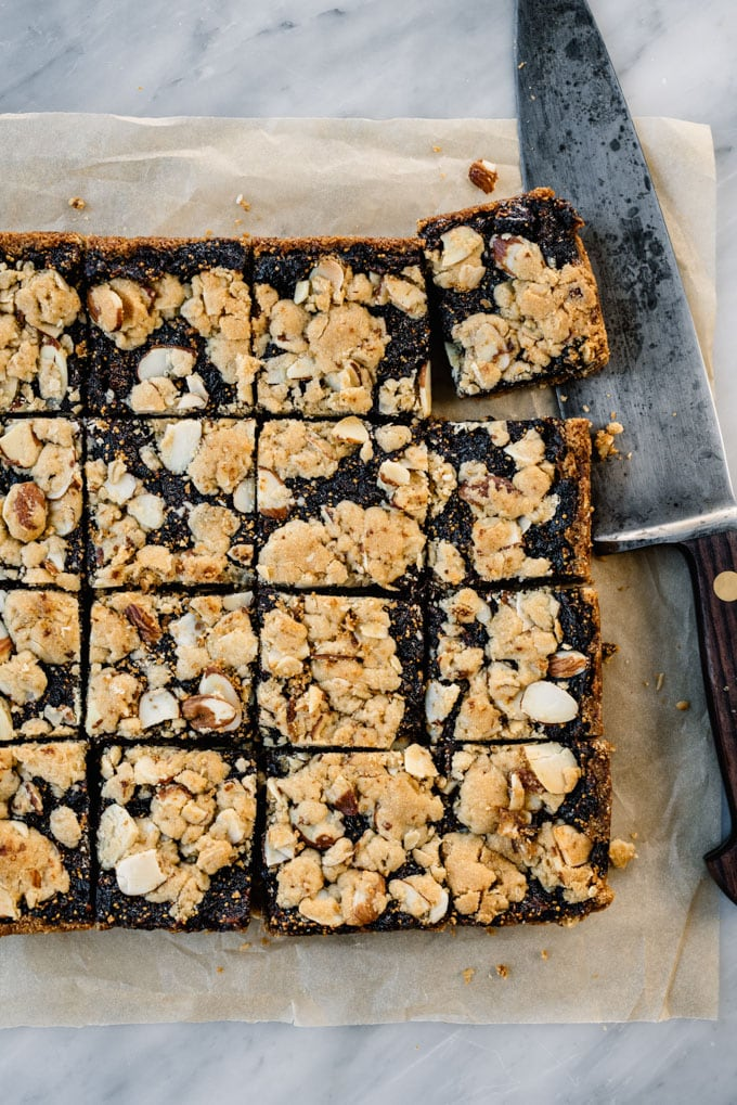 From overhead, homemade fig bars cut into squares.