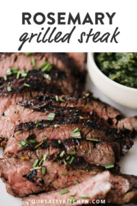 Thin slices of rosemary steak on a white plate with text for Pinterest.