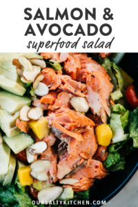 Pinterest image for salmon avocado salad.
