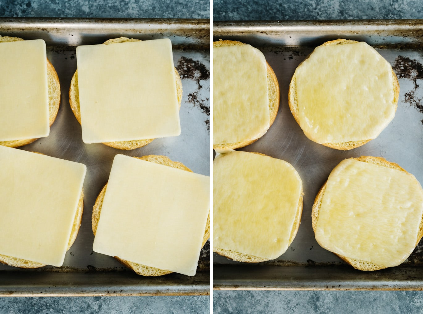 A slice of sharp cheddar over a brioche bun before and after being broiled.