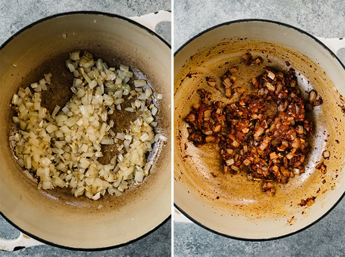 Two images showing the first steps for making citrus black beans.