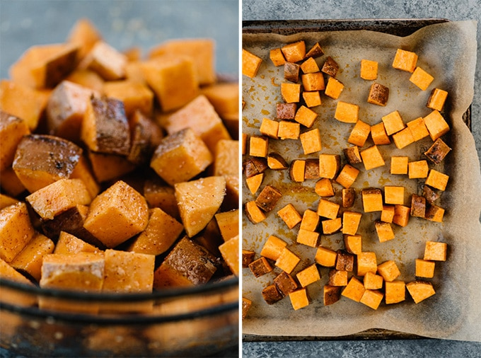 Two images showing how to roast sweet potatoes - diced seasoned potatoes in a bowl, and sweet potatoes on a baking sheet.