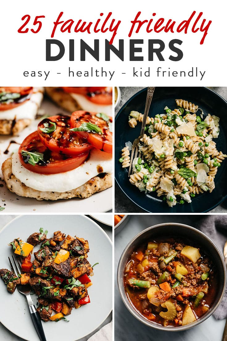 A collage of family friendly dinner ideas and recipes for Pinterest.
