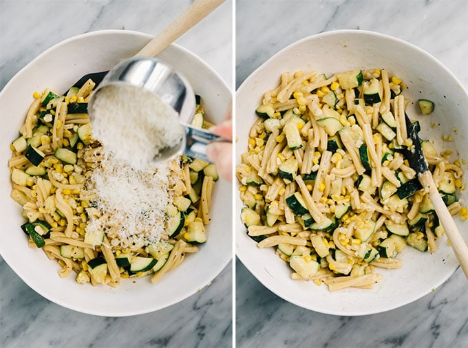 Two image collage showing how to toss zucchint and corn pasta with parmesan cheese.