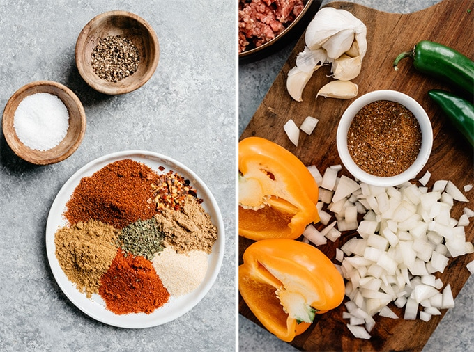 A detail image of the ingredients for homemade taco seasoning to make taco soup.