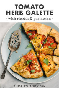 Pinterest image for a savory tomato galette recipe.