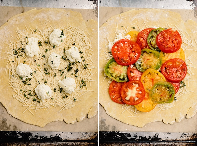 Two images showing how to layer a galette crust with cheese, herbs, and tomatoes.