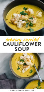 Pinterest collage for Whole30 and vegan curried cauliflower soup recipe.