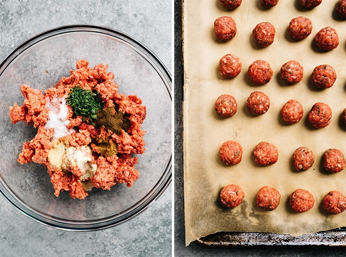 Swedish meatball ingredients in a mixing bowl, and formed mini meatballs on a baking sheet.