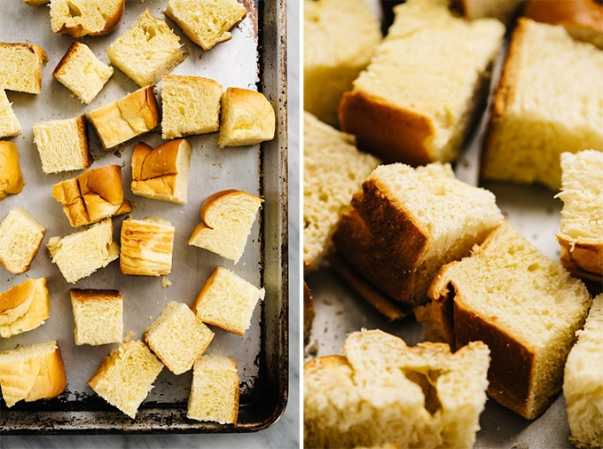 Cubes of brioche bread on a baking sheet before and after being dried in the oven.