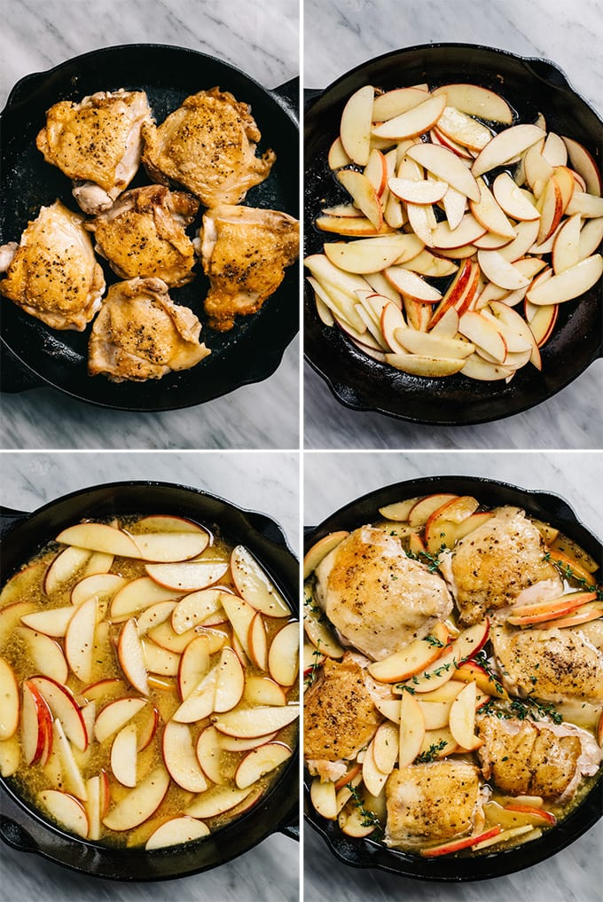 A collage of images showing how to make on pan apple chicken with cider sauce.