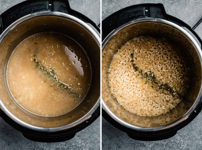 Two images showing risotto in an instant pot before and after cooking.