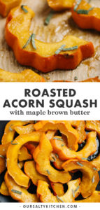 Pinterest collage for a roasted acorn squash recipe with maple browned butter.
