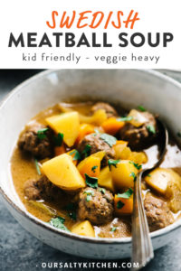 Pinterest image for low carb and gluten free Swedish Meatball Soup.