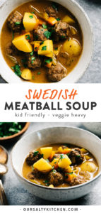 Pinterest collage for healthy Swedish Meatball Soup.