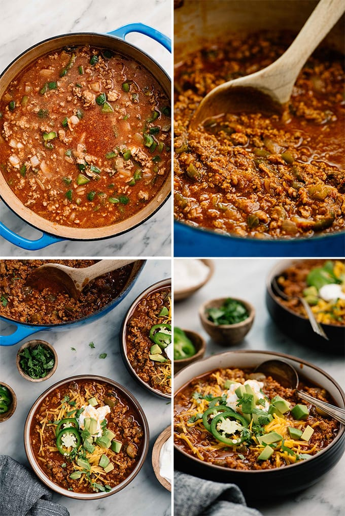 A collage of images showing an example of custom recipe photography for a Chili recipe.