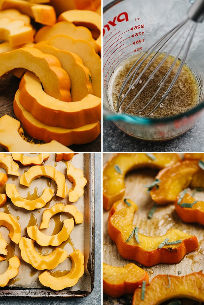 A collage of images showing an example of custom recipe photography for a roasted acorn squash recipe.
