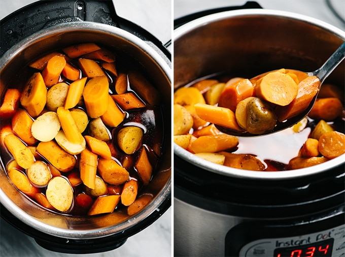 A slotted spoon holding cooked carrots and potatoes from an instant pot pot roast.