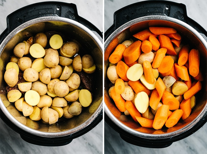Pot roast in the instant pot topped with potatoes and carrots.